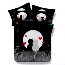 Hipster Black White and Red Kitty Cat and Moon Print Animal Themed Nice Twin, Full, Queen, King Size Bedding Sets