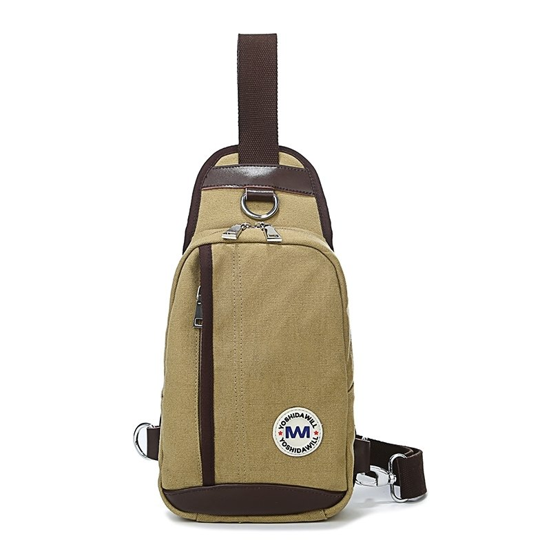 Khaki Oxford with Chocolate Brown Leather Men Crossbody Shoulder Chest Bag Hipster Sewing Pattern Cool Casual Travel Sling Backpack