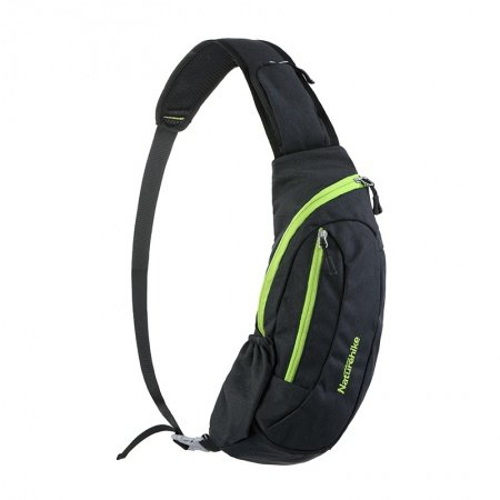 Vintage Black Nylon with Green Trim Men Crossbody Shoulder Chest Bag Waterproof Monogrammed Print Travel Hiking Cycling Sling Backpack