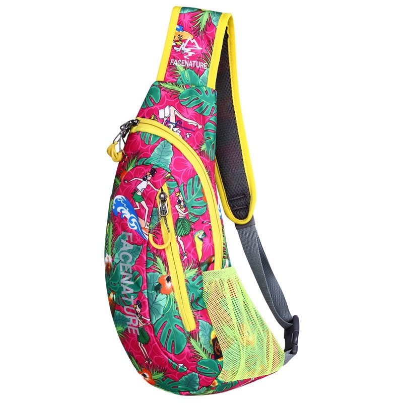 Hot Pink and Green Nylon Girls Crossbody Shoulder Chest Bag Colorful Tropical Hawaiian Style Floral Print Casual Travel Sling Backpack