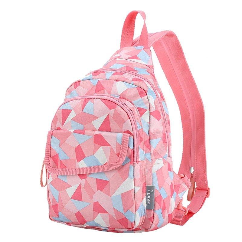 Coral Pink Aqua and White Polyester Girls Large Crossbody Shoulder Chest Bag Hipster Geometric Pattern Travel Hiking Sling Bag Backpack