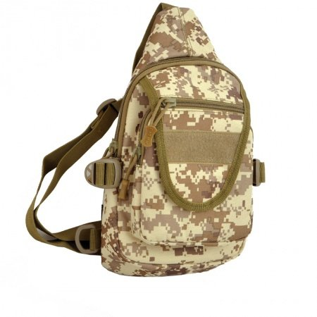 Taupe Brown and Beige Waxed Canvas Boys Crossbody Shoulder Chest Bag Hipster Camouflage Print Casual Travel Hiking Cycling Sling Backpack