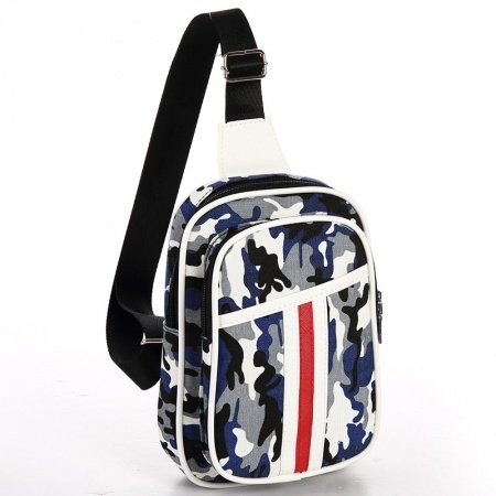 Black White and Blue Polyester Men Small Crossbody Shoulder Chest Bag Military Camouflage Print Travel Hiking Cycling Sling Backpack