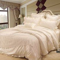 Fancy Bridal Style Victorian Lace Design Fluffy Full, Queen Size Bedding Sets