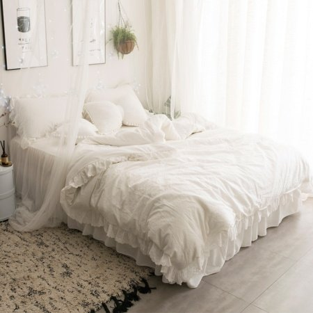 Solid Beige Simply Shabby Chic Ruched Elegant Romantic Feminine Soft Flannel Twin, Full, Queen Size Bedding Sets