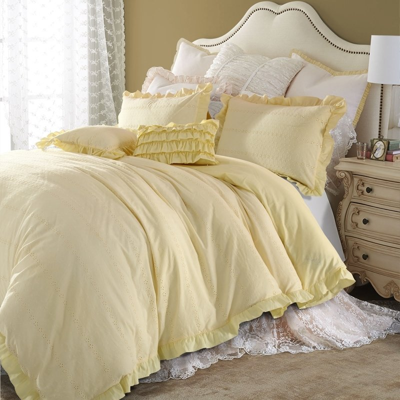 Romantic Solid Yellow Flower Pattern Simply Shabby Chic Ruffle and Embroidered Unique Adults Full, Queen Size Bedding Sets