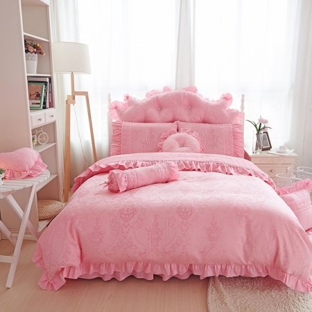 Bohemian Baroque Style Pink Tribal Print Vintage Victorian Lace Ruffle Romantic Luxury Jacquard Satin Twin, Full, Queen Size Bedding Sets