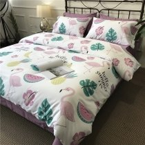 Dusty Rose White Green and Yellow Flamingo Print with Watermelon Pineapple Tropical Style Twin, Full, Queen Size Bedding Sets