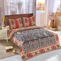 Red Camel and Charcoal Gray Indian Tribal Pattern Bohemian Chic Moroccan Style Patchwork Full, Queen Size Bedding Sets