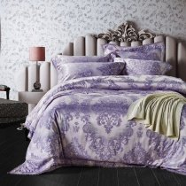 Pastel Purple and Silver Victorian Gothic Pattern Western Bohemian Chic Baroque Style Full, Queen Size Bedding Sets