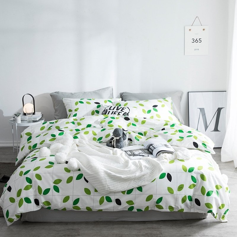 Trendy S Green And White Tropical Hawaiian Leaf Print French Country Chic Twin Full Queen Size Bedding Sets