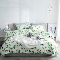 Trendy Teens Green and White Tropical Hawaiian Leaf Print French Country Chic Twin, Full, Queen Size Bedding Sets