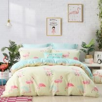 Girls Flamingo Print Beautiful and Cute Style Animal Themed Modern Chic Full, Queen Size Bedding Sets in Pink Beige and Tiffany Blue