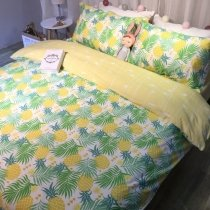 Yellow Green and White Pineapple Print Tropical Hawaiian Style Rustic Chic Twin, Full, Queen Size Bedding Sets