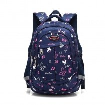 Dark Blue White and Pink Polyester Girls Pupil School Book Bag Butterfly Anchor Monogrammed Leaf Print Campus Backpack