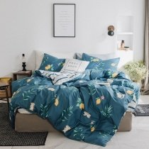 Teal Brown and Yellow Lemon Print Rabbit and Squirrel Print Animal Themed Full, Queen Size Bedding Sets