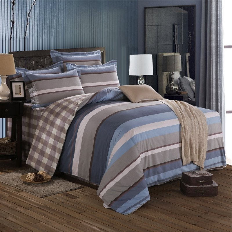 Dusty Blue White And Taupe Brown Nautical Stripe And Plaid