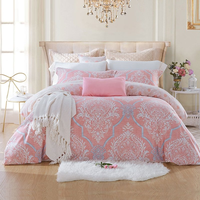 Fancy Pink Gray and White Victorian Gothic Baroque Style Full, Queen Size  Bedding Sets