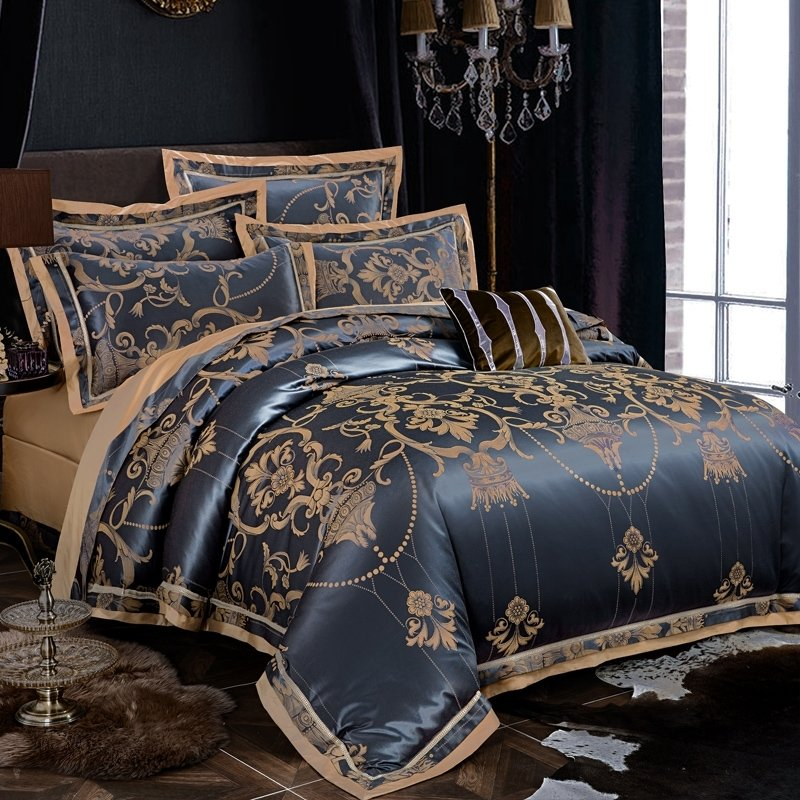 Midnight Blue And Gold Medieval Indian, Royal Blue And Gold Bedding Sets