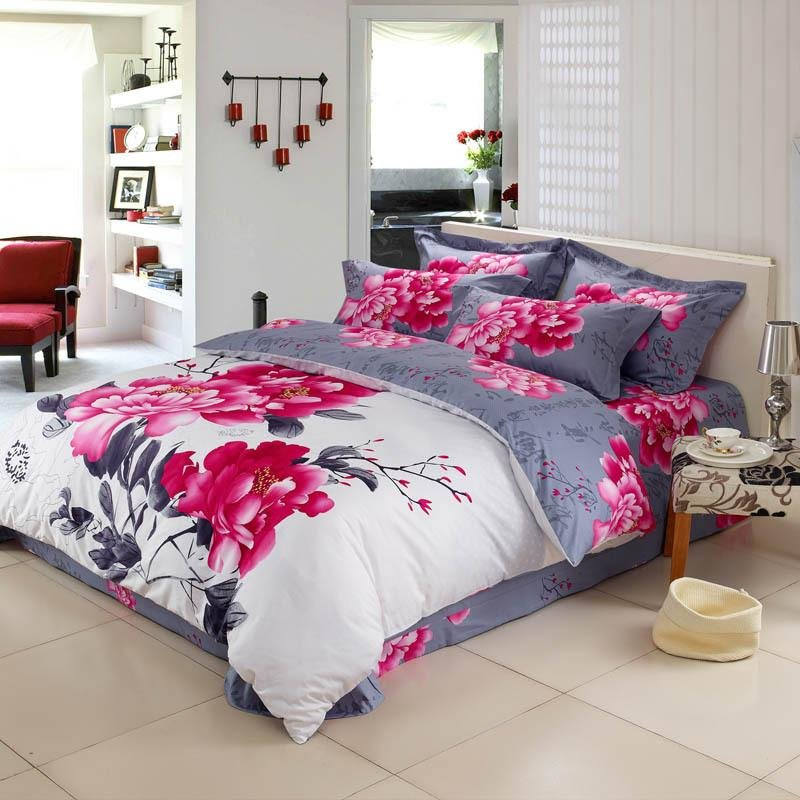 White Red and Grey Peony Flower Print Chinese Inspired Oriental Style Full, Queen Size Bedding Sets