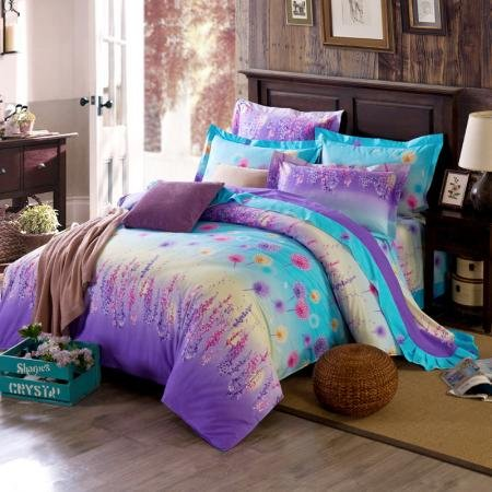 Aqua And Purple Forest Scene Full Size Bright Color Bedding Sets Enjoybedding Com