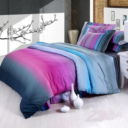 Blue green and hot pink modern chic design unique adults full queen size cotton satin bedding for Full size bedroom sets for adults