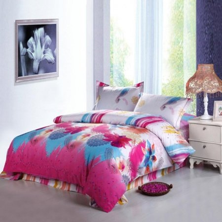 Fuchsia Pink White and Sky Blue Western Style Paisley Pop and Tribal Print with Floral Girls Bedroom Full, Queen Size Bedding Sets