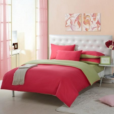 Peach Red and Pistachio Green Solid Pure Color Simply Modern Chic Full, Queen Size 100% Organic Cotton Bedding Sets