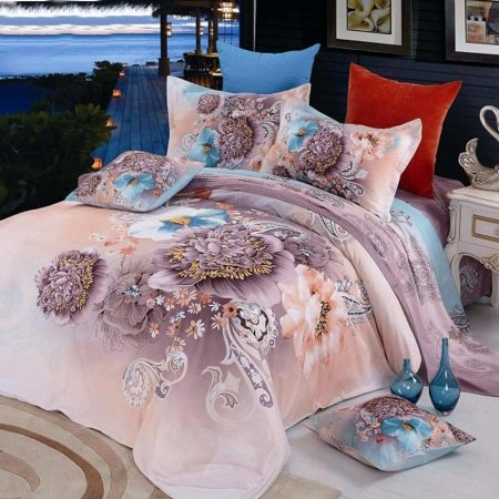 Light Tan and Purple Vintage Chic Floral and Western Paisley Pop Print 100% Cotton Full, Queen Size Bedding Quilt Cover Sets