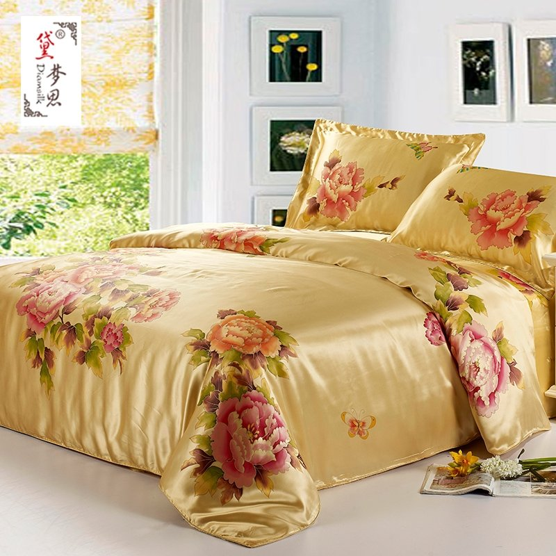 Gold Green and Red Butterfly Garden Images Antique Oriental Peony Blossom 100% Mulberry Silk Full, Queen Size Bedding Sets