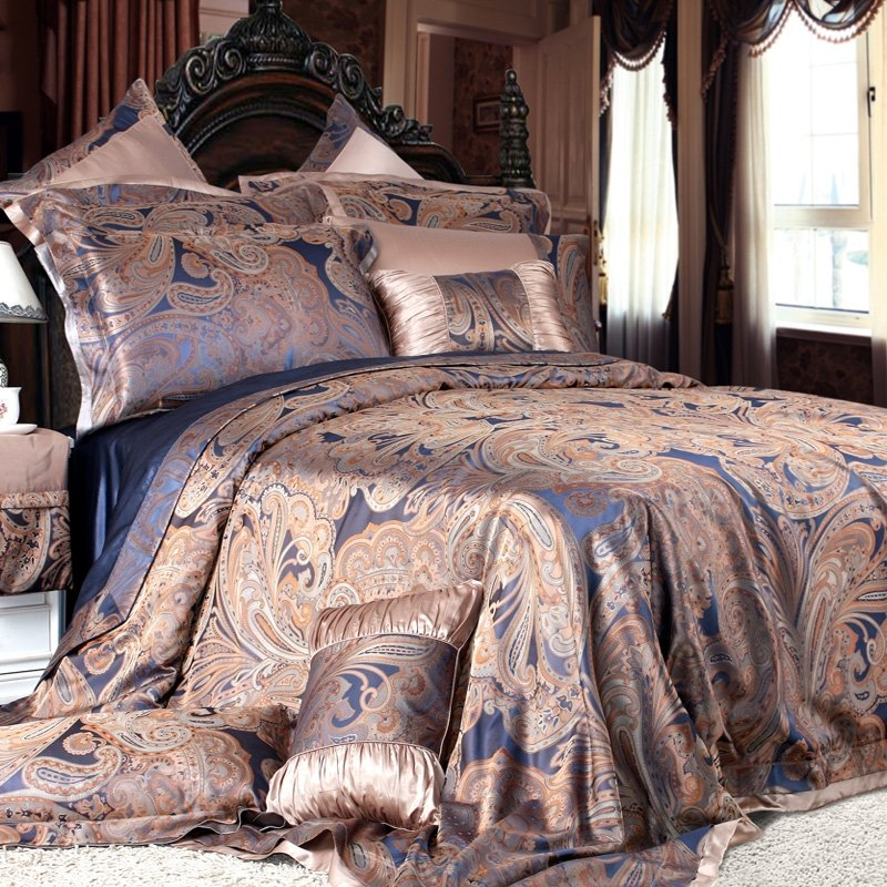 Gold Tan and Blue Boho Style Western Paisley Park Luxury Jacquard Design 100% Pure Silk Queen Size Bedding Sets