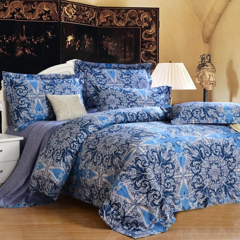 Peacock Blue and Grey Indian Style Tribal Pattern Print 100% Egyptian Cotton Full, Queen Size Bedding Sets