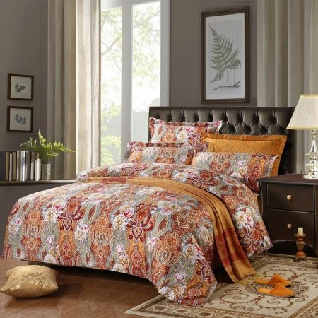 Yellow Green and Red Bohemian Baroque Style Indian Pattern Western CowBoy Themed Full, Queen Size Bedding Sets