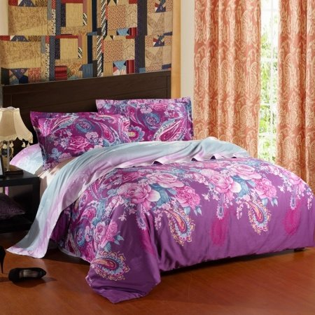 Purple Blue and Pink Paisley Park and Charming Flower Print Waverly Garden Room Full, Queen Size Luxury Egyptian Cotton Bedding Sets