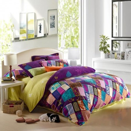 Purple Teal and Pink Yellow Bohemian Chic Tribal Style Patchwork Plaid and Jungle Themed Full, Queen Size Bedding Sets