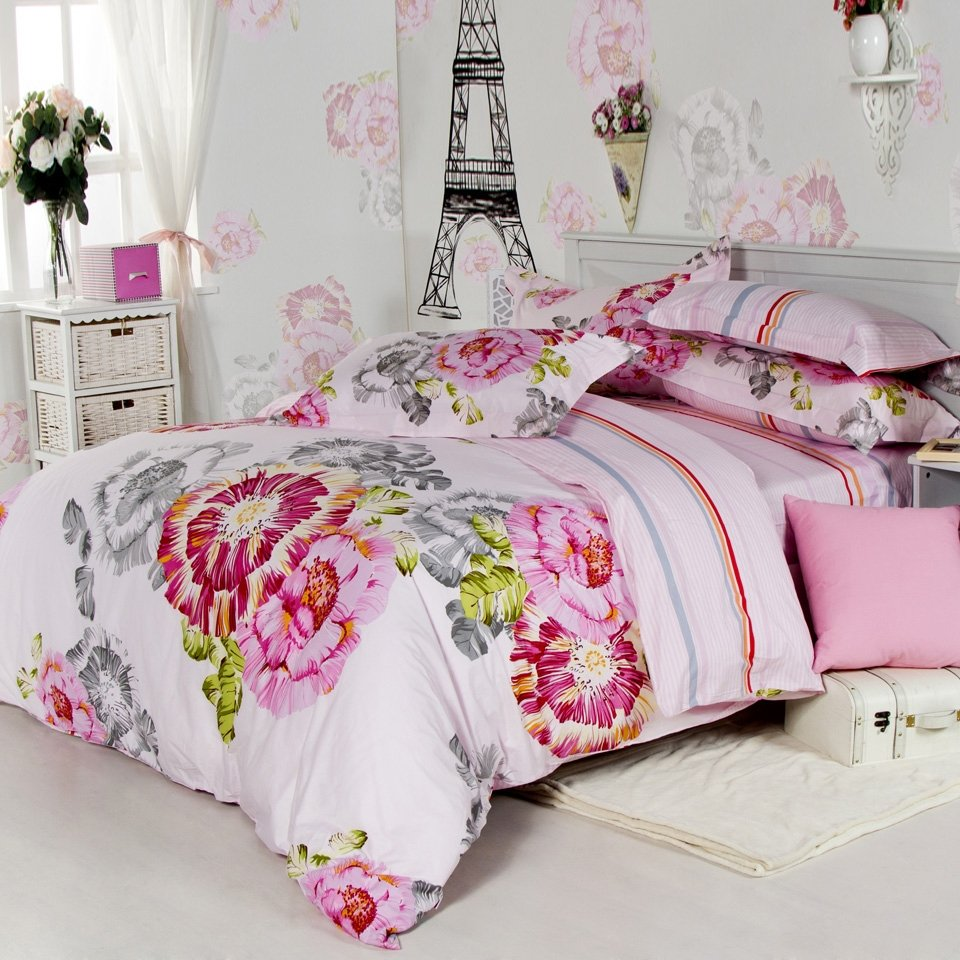 White and Pink Incense Flower Garden Romantic Cute and Elegant Asian Inspired Girls Full, Queen Bedding Sets