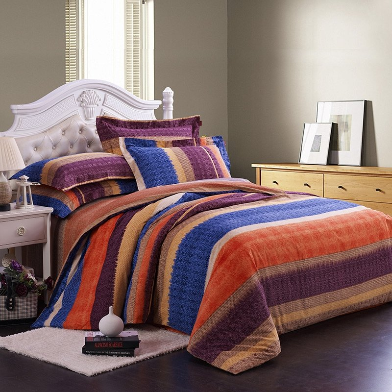 Orange Blue and Brown Cute Style Geometric Pattern Stripe Print Reactive Printed Bedding Sets