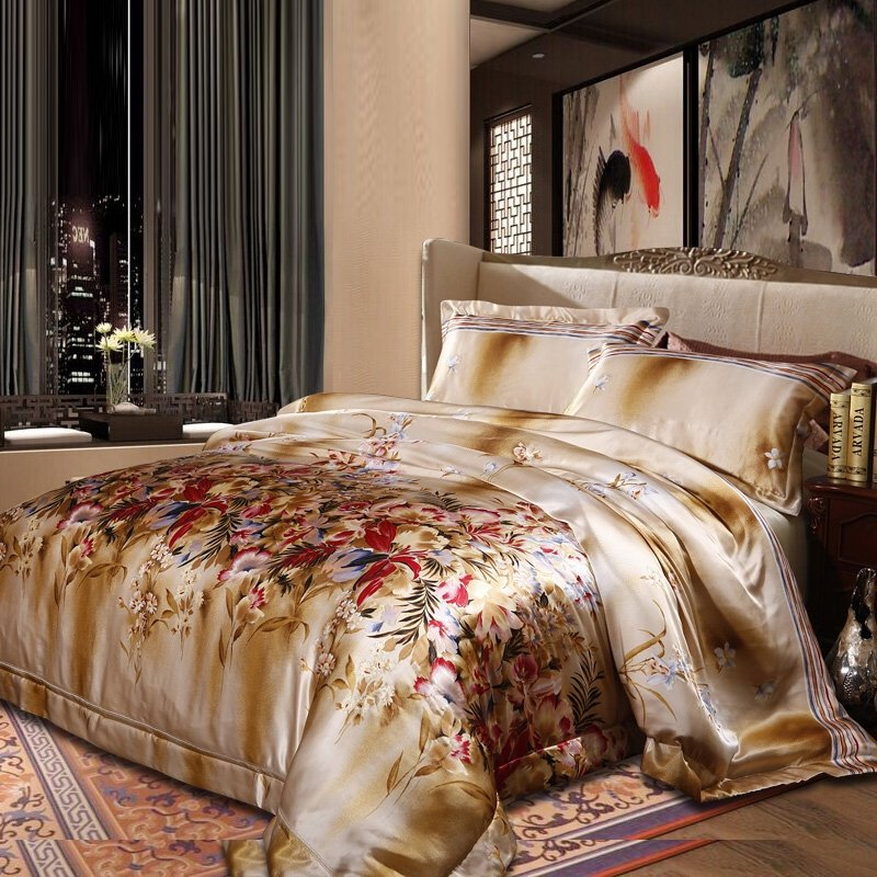Red Gold and Beige Country Floral 100% Mulberry Silk Satin Full, Queen Size Bedding Sets