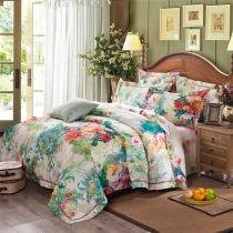 Light Blue Green and Colorful Traditional  Tropical Hawaiian Floral Print 100% Cotton Full, Queen Size Bedding Sets