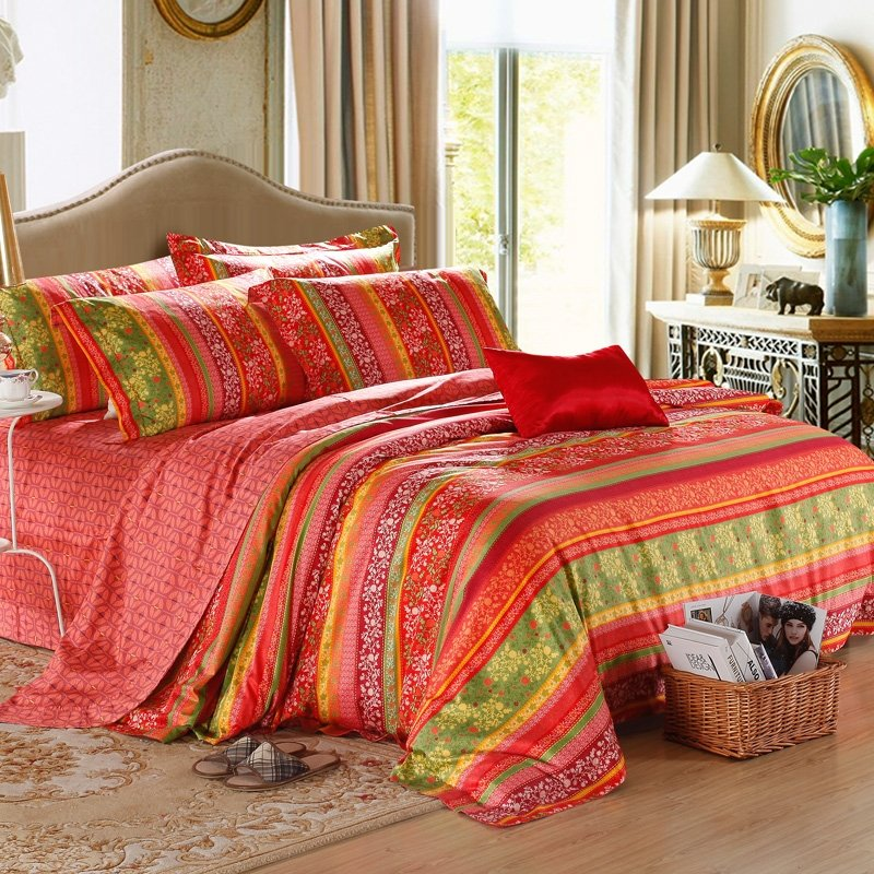 Red and Green Multi Colorful Stripe Tribal Indian Pattern Exotic and Sexy Luxury 100% Egyptian Cotton Full, Queen Size Bedding Sets