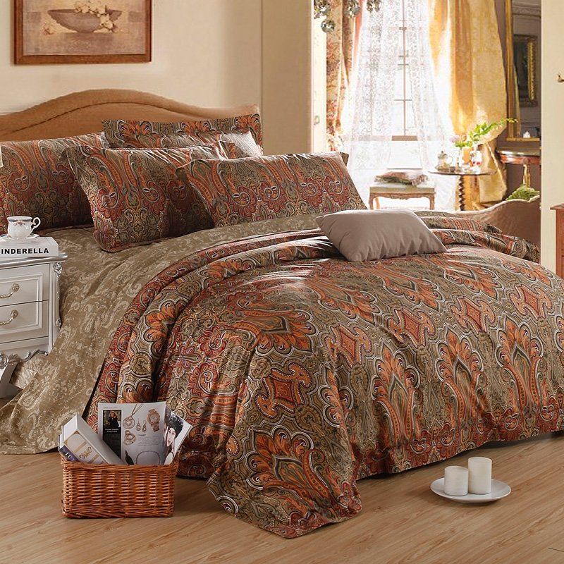 Brown and Orange Houndstooth Paisley Indian Tribal Pattern Retro Gorgeous 100% Egyptian Cotton Full, Queen Size Bedding Sets