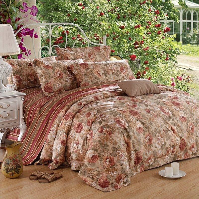 Fern Green Grey and Chocolate Luxurious Autumn Scene Shabby Chic Jungle Themed Flower 100% Egyptian Cotton Full, Queen Size Bedding Sets