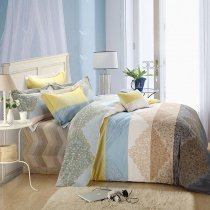 White Yellow Brown and Light Blue Indian Tribal Pattern Bohemian Style Exotic 100% Brushed Cotton Full, Queen Size Bedding Sets