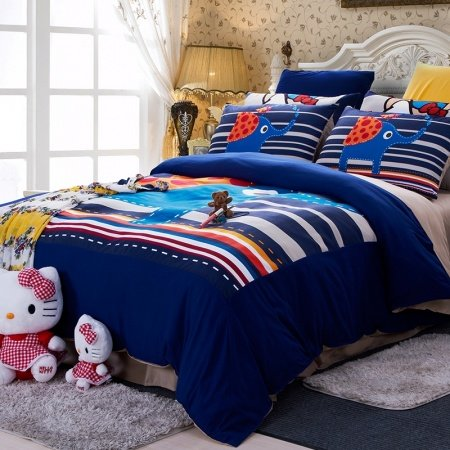 Navy Blue and Colorful Animal Elephant and Multi-color Striped Print 100% Brushed Cotton Full, Queen Size Bedding Sets
