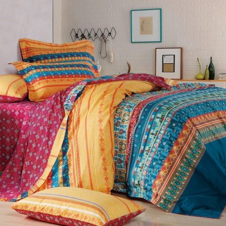 Teal Blue Yellow and Red Personalized Bohemian Chic Tribal Pattern and Geometric Stripe Print Full, Queen Size Bedding Sets