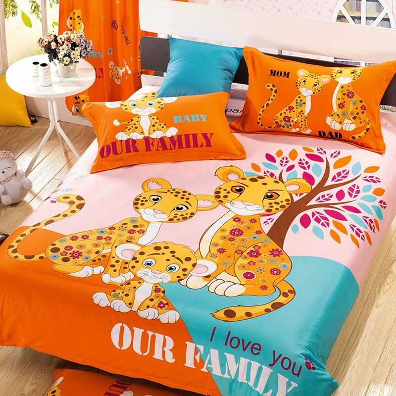 Orange Pink and Yellow Leopard Print Animal Themed Kids Full Bedding Sets