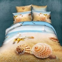Light Tan and Sky Blue Ocean Themed Beach Scene Starfish and Seashell Print with Sail Boat and Seagull Full Size 3D Design Bedding Sets