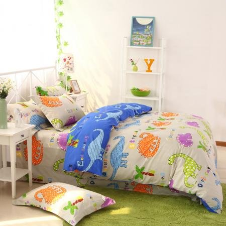 Beige Orange and Blue Cute Dinosaurs Print Jungle Animal 100% Cotton Girls and Boys Twin, Full, Queen Size Bedding Sets