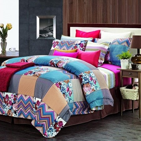 Sky Blue Khaki and Purple Vintage and Luxury Patchwork Plaid and Flower Print 100% Egyptian Cotton Full, Queen Size Bedding Sets