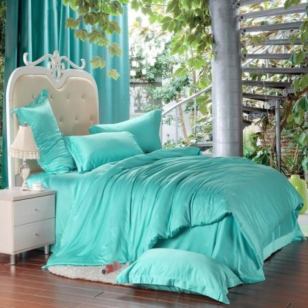 Bright Turquoise Green Solid Pure Color Western Style Girls 100% Tencel Lyocell Full, Queen Size Bedding Sets